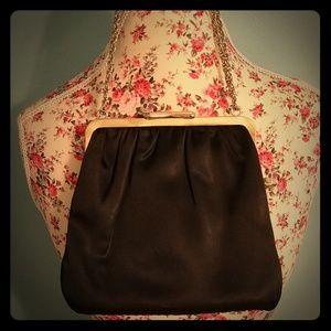 Vig Black & Gold Satin Purse Clutch Bag